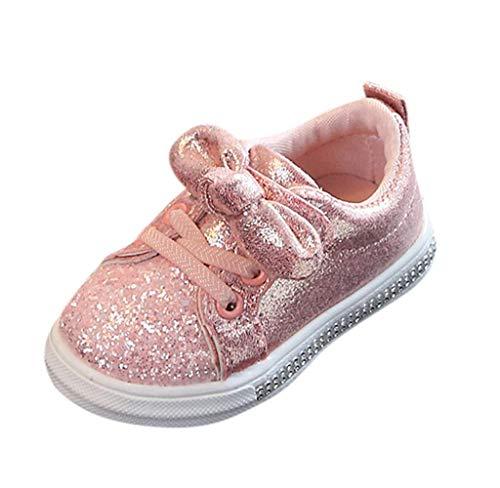 Jimmackey Bambina Neonato Sneakers Scarpine - Scarpe Primi Passi Bimba - Ragazza Scarpe da Ginnastica Bowknot Paillettes Bling Scarpine da Trekking