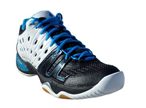 Ektelon Men's T22 Mid White/Black/Energy Blue Synthethic Racquetball Shoes 11 D(M) US