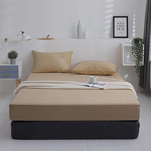 GTWOZNB Luxurious No-Iron Bed Sheet is Breathable- Top Sheet is Oh-So-Soft Waterproof and breathable bedspread for urine isolation-camel stripes_135*200cm