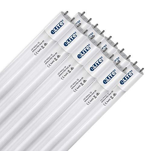 eLITe LED Röhre T8, 150cm, sehr hell, 3300lm, 25W, 865, 6500 Kelvin, Tageslichtweiß, 330 Grad, homogenes Licht, Glas, langlebig 50.000h, 5 Jahre Garantie, 26mm Durchmesser, inkl. Starter, 10 Stück
