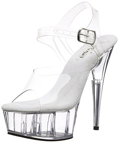 Pleaser Del608/C/M, Damen Plateau Pumps, Transparent (clear), 41 EU (8 UK)
