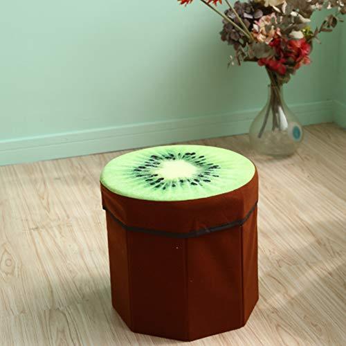 HYYQG Taburete plegable de almacenamiento, asiento de almacenamiento pequeño, silla de almacenamiento para fundas de dormitorio, caja de niños, juguete ottomam, mantel, redondo, kiwi