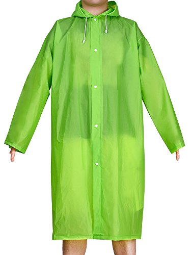 Mudder Adult Portable Raincoat Rain Poncho with Hoods and Sleeves (Green)