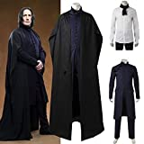 Disfraces de Halloween para Hombre Magia Harry Disfraces de Profesor Severus Snape para Hombre Disfraces de Snape con Capa Disfraces de rol Juegos completos L