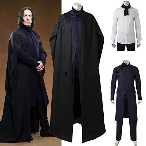 Halloween Herren Magic Harry Kostüme Mens Professor Severus Snape Schwarzes Kostüm Snape Anzüge mit Umhang Rollenspiel Kostüme XXL Komplettsets