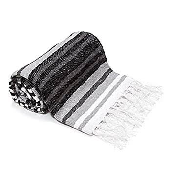 Americanflat Authentic Mexican Yoga Blanket - Soft Woven Cotton & Polyester Falsa Blanket in Grey Striped