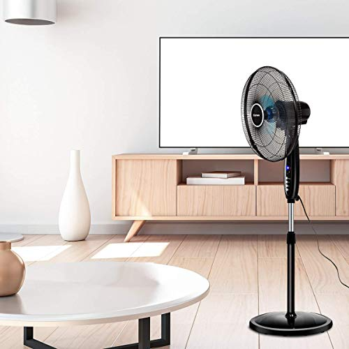 COSTWAY Pedestal Fan, 16-Inch Adjustable Height Fan, 3-Speed Digital Control, Timer, LCD Display, Double Blades, Remote Control, Oscillating Stand Fan for Home, Office, Bedroom