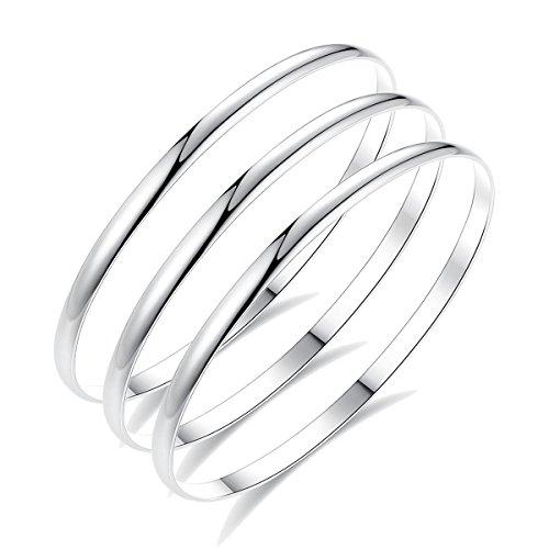HooAMI® 3pcs Bracelet Jonc pour Femme Homme Couple - Bracelet Manchette Argent en Acier Inoxydable Anniversaire Fete des Meres Saint-Valentin