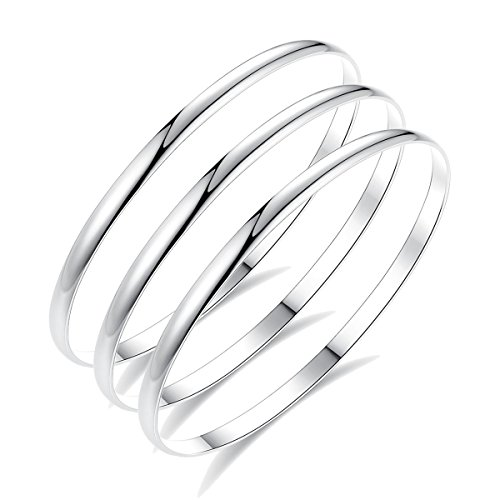 HooAMI Women 3PCs Stainless Steel Comfort Fit Stacking Bangle Bracelet