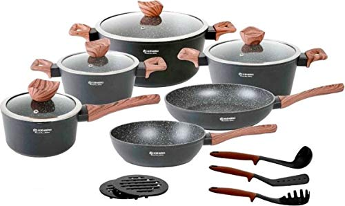 Edënbërg Black Line - Batería de cocina (15 piezas, aluminio forjado)