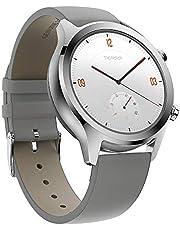 Ticwatch C2 Classic Smartwatch, roestvrijstalen horlogekast, lederen band, Google Pay, GPS, IP68 waterdicht, hartslagmeter, Google Assistant, muziek, compatibel met iPhone en Android