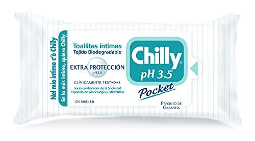 Chilly Pocket - Toallitas Chilly pH 3.5, Toallitas Íntimas Aptas para Uso Diario, Fórmula Extra-Protección, 12 Unidades