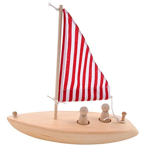 ogh Wooden Toy Sailboat - Made in USA Red and White Sails