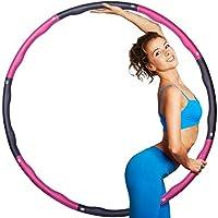 大人、加重フラフープ、ウエスト、尻の筋肉、8章取り外し可能なデザインのプロフェッショナルソフトフィットネスフラフープ(ピンク・グレー)のためのフラフープ,1.4kg /3.08lb