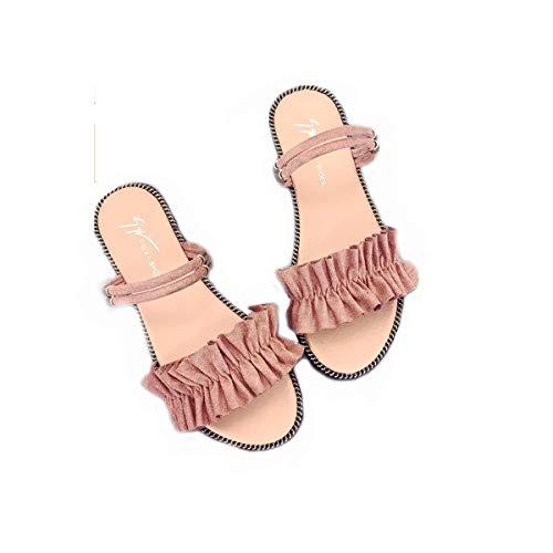 SHENAISHIREN Zapatillas de Punta Abierta de Las Mujeres, Sexy Transpirable, Sandalias de Las señoras, Zapatos Planos al Aire Libre de tacón Grueso (Color : C, Size : 37)