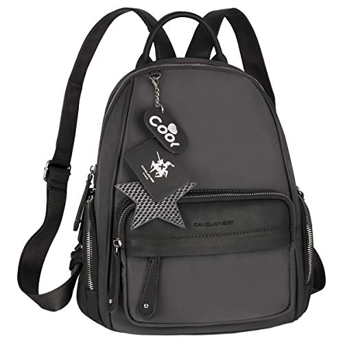 David Jones - Women's Small Daypack - Casual Backpack Waterproof Nylon PU Leather - Little Cute Rucksack Shoulder Handbag Zipper Multi Pocket - Ladies Girls Fashion Everyday Bag - Grey