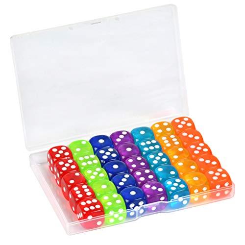 YOTINO Juego de Dados estándar de 35 Piezas Juego de Dados de Esquina Redonda de 6 Lados 7 Dados de Colores translúcidos con Bolsa de Almacenamiento Gratuita para Jugar Juegos como Tenzi