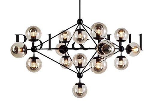 BBSLT Ferro battuto vetro lampadario a sfera, 15