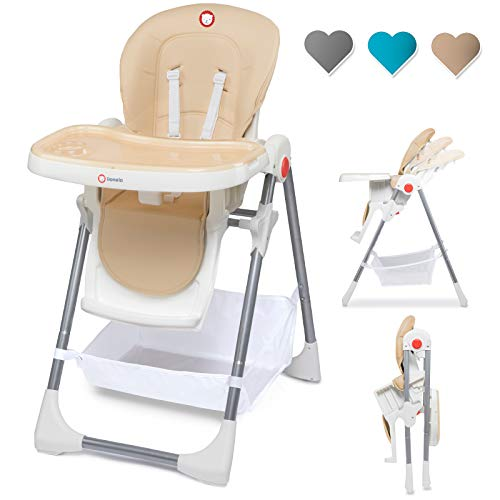 Lionelo Linn Plus hoge stoel baby kinderen hoge stoel vanaf 6 maanden kinderstoel tot 15 kg belastbaar hoge stoel baby met ligfunctie talrijke accessoires (Beige)