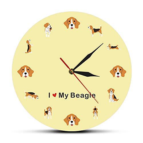 XINTANG Wanduhren Ich Liebe Meine Beagle Cartoon Wanduhr Englisch Beagle Puppy Dog Wandkunst Stille Quarzuhr Wanduhr Beagle Mom Pet Lover Geschenkgruppe
