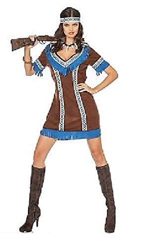 narrenkiste W4742-40 - Disfraz de india para mujer (talla 40), color marrn y azul