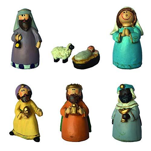 Gesar Juego de 7 figuras de Belén de Navidad – Belén navideño – 7 piezas de resina – para la decoración de tu Belén – Dimensiones: 13,5 x 8,5 cm