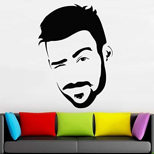 HGFDHG Pegatinas de pared barbería escaparate decoración de pared hombre retrato arte barbería tienda pared