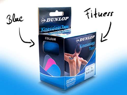 DUNLOP Kinesiologie Tape Blau I 5cm x 5m I Elastisches hautfreundliches Tape - uneingeschränkte Bewegungsfreiheit I Wasserfest + Atmungsaktiv + Langer Halt I Farbauswahl: Pink Blau Grau
