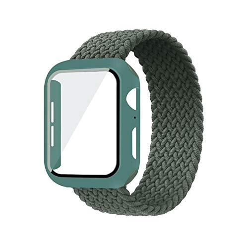 CGGA Case+strap For Apple Watch Band 44mm 40mm 42mm 38mm bracelet Fabric Nylon Braided Solo Loop strap series 6 se 5 4 3, (Band Color : Inverness Green, Size : 44mm)