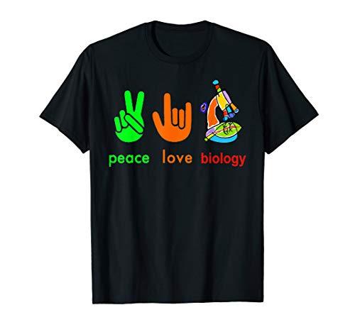 Peace Love Biology Microscope T-shirt Painter Science Teach T-Shirt