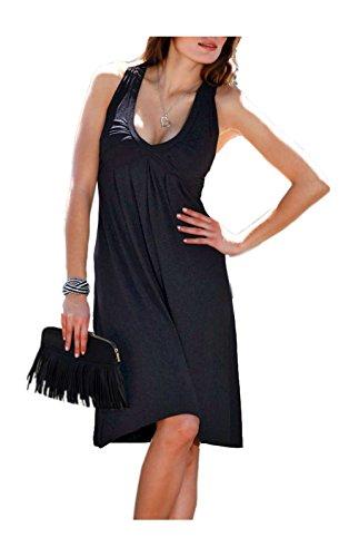 VIVANCE Damen-Kleid Drapékleid Schwarz Größe 36