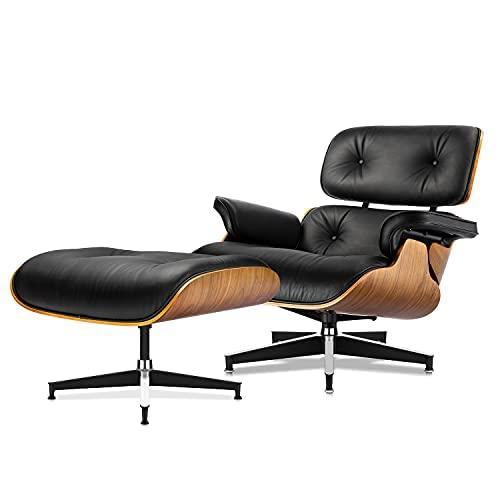 Sillón y otomana de mediados de siglo, silla moderna de diseño clásico, madera de palisandro de piel de grano superior, soporte para base resistente para salón, estudio, sala de estar, oficina