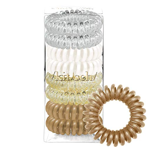 Kitsch Spiral Hair Ties, Coil Hair Ties, Phone Cord Hair Ties, Hair Coils - 8 Pcs, Blonde