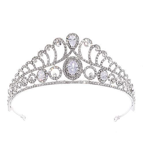 Weimay - Corona de cristal para mujer, con cristales y piedras preciosas, Hueso