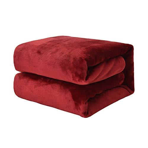 EHC Super weicher flauschiger kuscheliger Flanell-Fleece-Überwurf für Sofa- & Bett-Decken, weinrot, 125 cm x 150 cm
