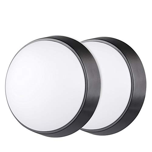 10W LED 4000K IP54 Circular Wall Ceiling Mounted Round Dome Bulkhead Light Fitting lamp for Indoor, Outdoor, Bedroom, Bath, Hallway, Corridor, Utility, Garden, Shed, Porch - Black - Pack of 2