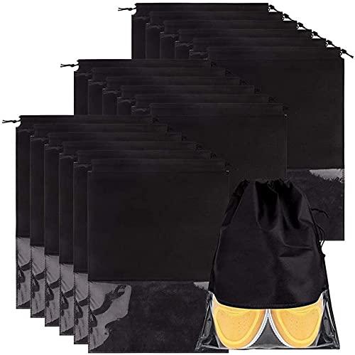 ELOKI 20-teilige Reiseschuhtasche, Wasserdichter Schuhtasche mit Transparente Fenster, Leicht Zugband Travel Aufbewahrungsbeutel für Schuhe, Stiefel, High Heel
