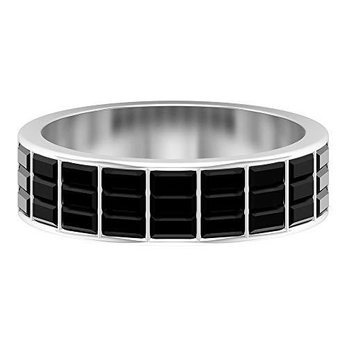 Rosec Jewels - 14 Kt Weißgold Baguetteschliff Black Künstlicher schwarzer Diamant.