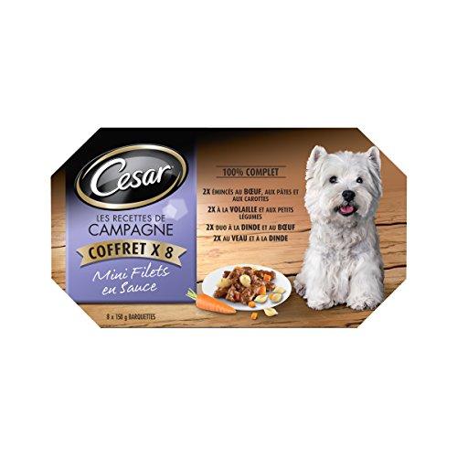 Cesar Multipack de Tarrinas de Comida Húmeda para Perros en salsa, Selección Recetas campesinas (8 tarrinas x 150g)