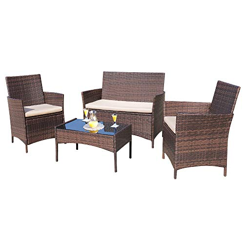 Homall 4 Pieces Outdoor Patio Furniture Sets Rattan Chair Wicker Set, Outdoor Indoor Use Backyard Porch Garden Poolside Balcony Furniture Sets Clearance (Brown and Beige)