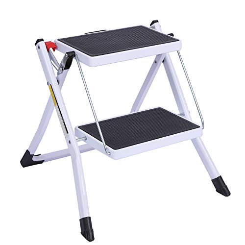CAMPMOON Small Step Ladder for Kitchen, Sturdy Folding 2 Step Stool for Adults with Wide Anti-Slip Pedal, White