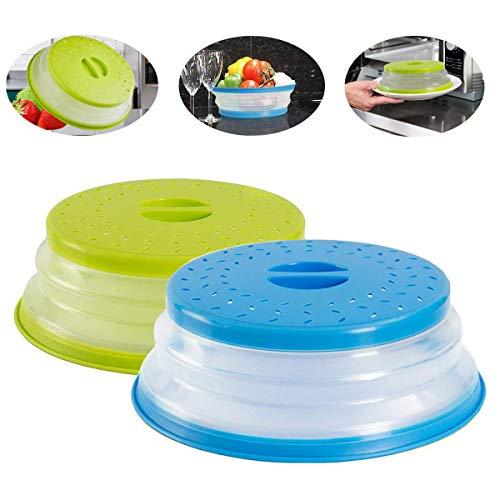 Fiyuer 2PCS Plegable Microondas Silicona Tapa Colador Plastico No Tóxico Para Alimentos