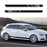 Jiahe Autocollant De Voiture for Audi General Seiten Streife 4-FarbigerTattoo Decor Aufkleber Autotür Seite sportliche Optik @ Schwarz 2er Set