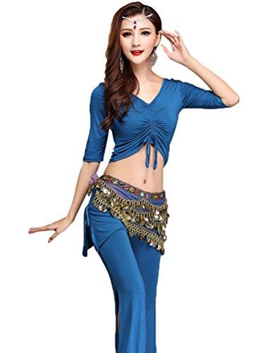 YiJee Donna 3 pezzi Danza del Ventre Set Tops Pantaloni con Cintura Danza Costume Blu XL