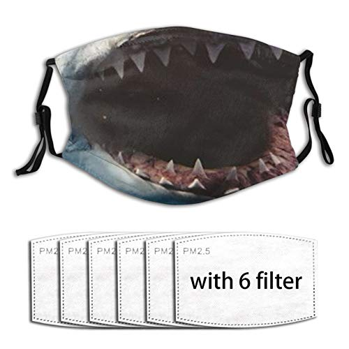 Great White Shark Jaws (3) Face Mask with 6 Filters Winter Bandana Reusable Scarf Comfortable Protection Nose Wire Kids Women Girl Boy Outdoor Running