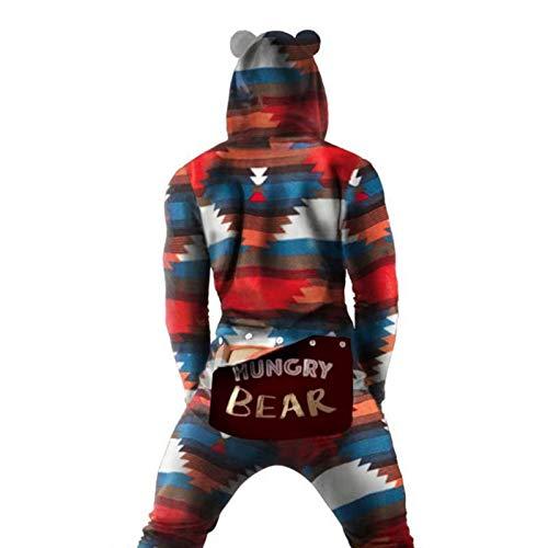 kekison Jumpsuit Schlafanzug Herren Sexy Strampler Einteiler Onesie Pyjamas Funktionale Praktisch Geknöpfte Klappe Erwachsene Bodysuit Hausanzug Overall Langarm Bodysuit Geschenke für Männer