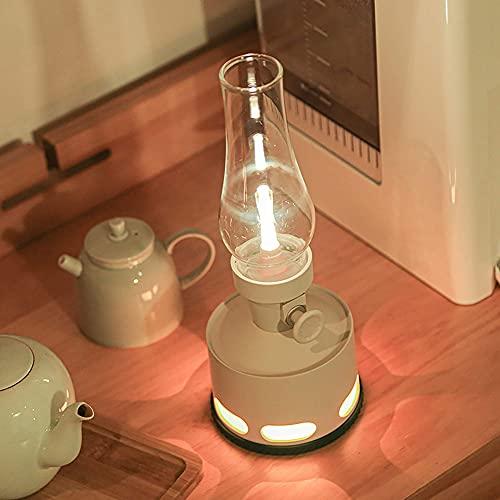 Pkfinrd Sensor de Flujo de Aire Retro Mesa Lámpara Noche Luz LED Decoración Moderna Imitación Keroseno Sensor de Gravedad Lámpara Lámpara de Noche Lámpara de Noche (Color : Khaki)