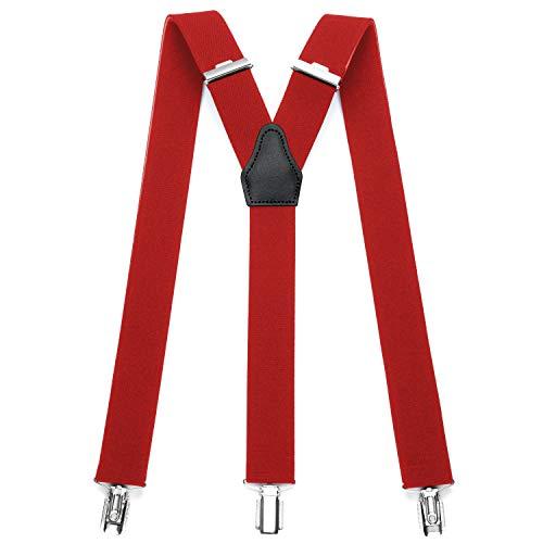 Sencillo Herren Hosenträger mit Starken Clips Y-Form, Rot, 120 cm lang x 3,5 cm breit