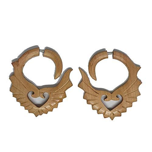 Feathers Wooden Earrings Tibetan Tribal Fake Gauge Handmade Carved Women Girls Ladies Unisex Jewellery