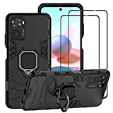 BestAlice for Redmi Note 10 4G / Redmi Note 10S Case & 2 PCS Tempered Glass Screen Protector, Hybrid Heavy Duty Protection Shockproof Defender Kickstand Armor Case Cover,Black